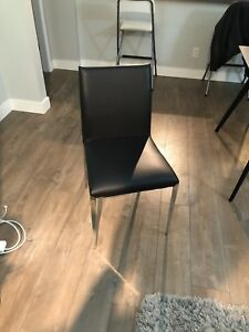 Dining Table and Black Leather/Metal Chairs