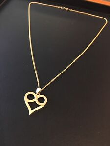 Infinity and heart 18 k pendant and chain  for valentine