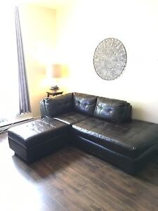 Chocolate brown real leather couch + storage  matching ottoman