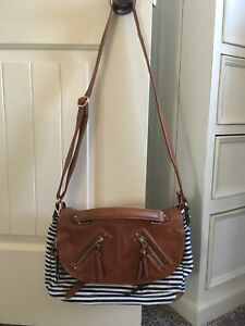 Navy/ White with brown leather Crossbody Bag