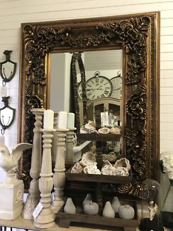 Ornate French Rococo Baroque Style Antique Gold Mirror