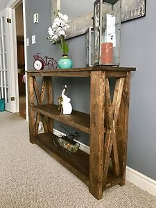 Handcrafted rustic console/sofa/entryway table.
