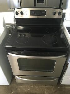 GE stainless steel glass top stove