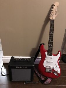 Jr Squire Guitar and Amp