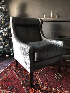 SOLD 2x NEW Cow hide leather retro vintage armchairs