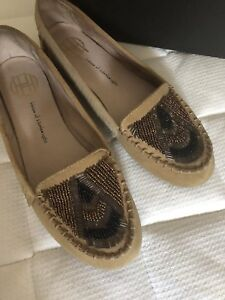 House of Harlow Suede Beaded Moccasins Size 8