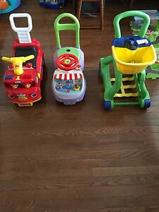Kids ride on and leap frog shopping cart for sale.