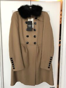 Burberry London Camel Coat with fox collar - size US 4 * NEW