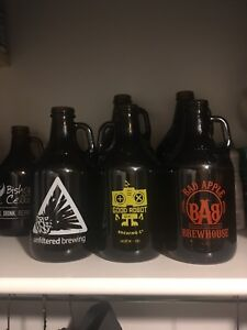 Assorted 1L and 2L beer growlers for sale