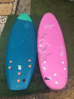Softboards, kids 5'5 & 5'8. $40 each