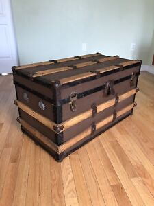 Vintage Slat Top Steamer Trunk - Coffee Table