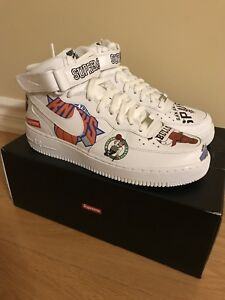 Nike x NBA x Supreme White Air Force 1 Mid Size 9.5 DS