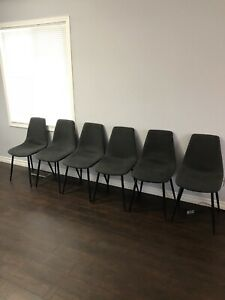 LIKE NEW 6 dining chairs greyish black with black legs