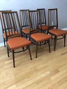Set of 6 - Vintage Mcm Walnut Dining Chairs