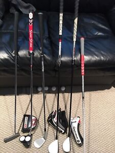 Golf clubs, headcovers, grip and glove for sale