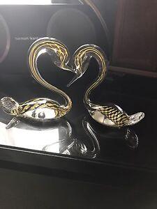 Hand blown glass swans