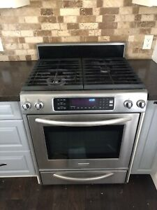 """30"""" Kitchen aid gas range with electric oven and warming drawer"""
