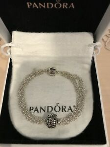 PANDORA Sterling Silver Multi-Strand One Clip Station W/Charm