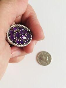 Genuine Amethyst set on a Solid Sterling Silver Size 8-9