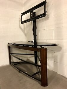 Black metal tv stand with mount