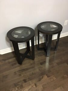 2 End Tables- Dark wood and glass