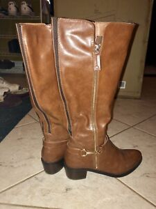 Steve Madden Knee-High Brown Boots w gold accents