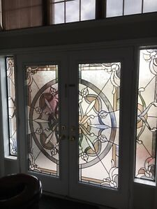 Decorative Door Glass inserts,wrought iron stain glass insert