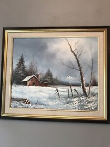Original oil on canvas painting  - Barn Storm in Woods