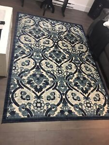 Navy and cream area rug