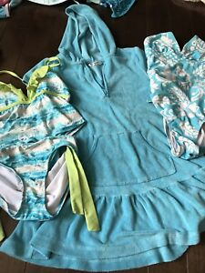 Girls bathing suits  and cover up size 8