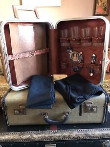 Vintage bartending kit with case and lock- $30