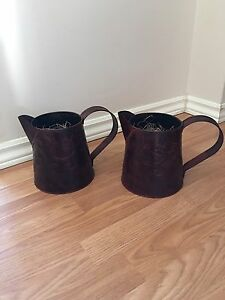 2 Metal Jug Planters for artificial flowers