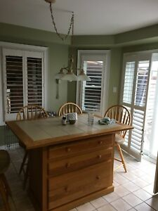 Kitchen island and swivel chairs