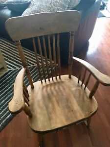 Rustic wood (pine? Maple?) rocking chair from Quebec
