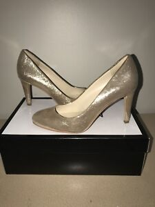 "Size 5 1/2 Gold ""Nine West"" High Heels for cheap"