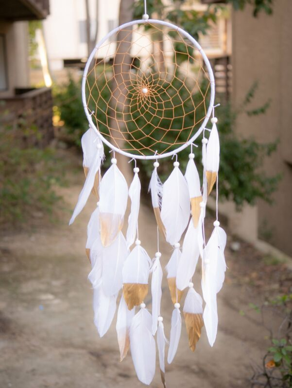 Halona White Native American Dreamcatcher With Gold Web and White Feathers & Gol