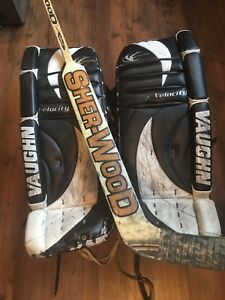 Goalie pads and goalie stick