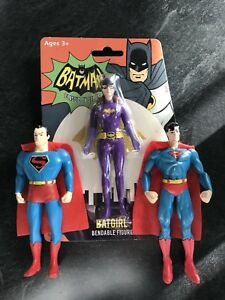 DC Comics Batman, Batgirl, Superman Bendy figures