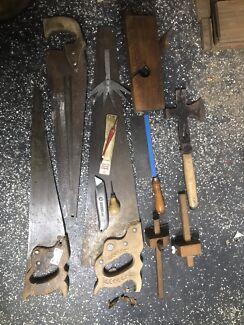 Vintage carpenters tools saw plane hatchet glass cutter