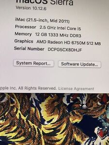 Mid 2011 iMac upgraded with 12G RAM  21.5 inches