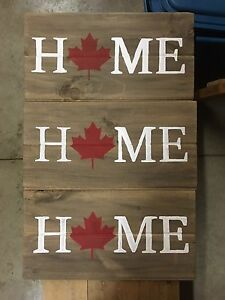 Wooden Canada signs
