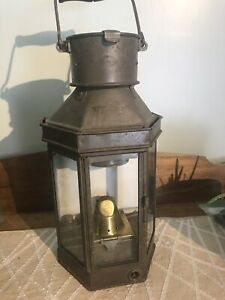Rare Antique nautical lantern. Porcelain back plate. Glass