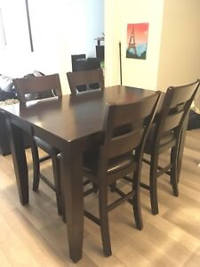 Mango Wood Dining Table and 4 Chairs - Bar Height - Dinner