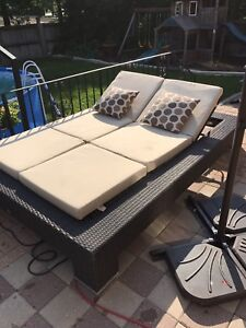 Wicker rattan patio daybed adjustable
