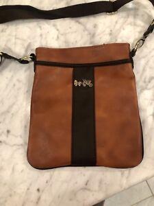 Coach leather messenger crossbody bag