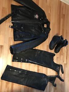 Motorcycle leather gears - jacket, chap/pants, boots