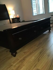 Dark wood, queen bed frame with two drawers in footboard