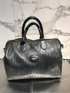 Roots woven leather black purse