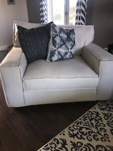 Sectional, oversized chair, ottoman and rug