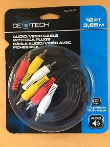 NEW AUDIO/VIDEO cable with RCA plugs 12 FT